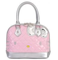 New Arrival!!2013 Fashion Cute Bow  Hello Kitty  Pu  tote bag handbag   shoulder  Free Shipping White Pink Black Model3