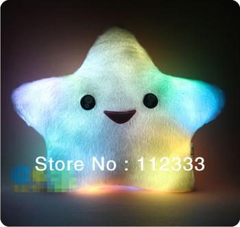 Creative Gift Holiday Sale Free Shipping!Flashing Star Shining Star Luminous Colorful LED Plush Toy Lovely Gift