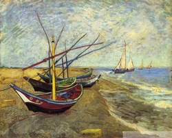 Free Shipping Oil painting for sale:Fishing Boats, 1888 P089489(China (Mainland))