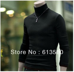Free shipping the new 2013, Japan and South Korea version of turtleneck render unlined upper garment fashion dress size M - XXL(China (Mainland))