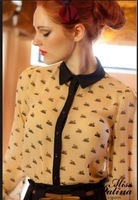 2013 New Casual Print Swan Fashion Women Top Button Shirt Chiffon Blouse Office OL Shirts Sheer Tops S,M,Lfree shipping