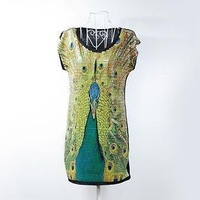 desigual free shipping  Women's 2013 full paillette peacock print plus size XXXL XXXXL women clothes brandT-shirt