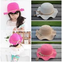 Summer wave brim hat child hat baby sunbonnet female child beach cap sun hat
