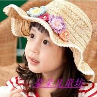 Wave brim hat flower child strawhat baby sunbonnet beach cap female child hat summer
