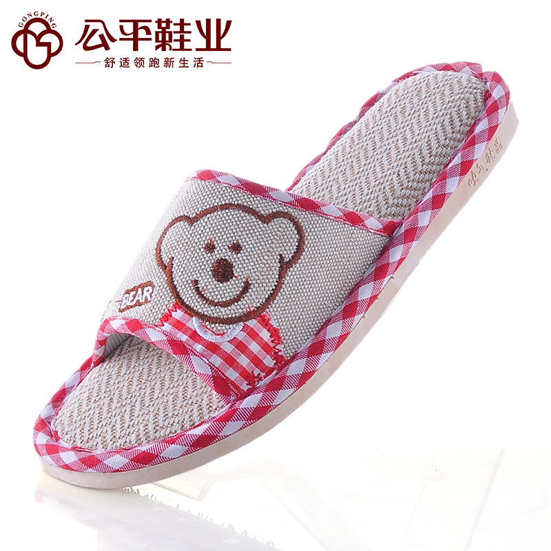Free shipping Spring and summer 100% cotton hemp mat grass bear lovers sandals four seasons home floor slippers(China (Mainland))