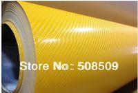 Yellow 4D carbon fiber vinyl car sticker wrap  film 1.52x30m(5ft*98ft) air drain  free shipping