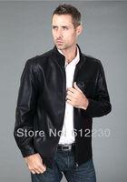Free Shipping ! New Locomotive Leather Man Leather Jacket South Korea's Leather Jacket / SIZE:M--XXXL