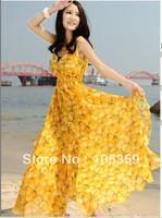 Free shipping - 2013 new arrive Summer Yellow peaches Chiffon women's dress lady's Beach dresses