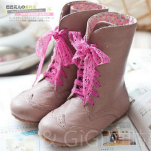 Beautiful vintage lace princess shoes female child autumn and winter leather boots hebe medium-leg boots shoes(China (Mainland))