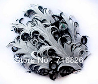 2014 new fashion wholesale free shipping 10pcs Nagorie white on black Curled Goose Feather Pads diy for hair accessories