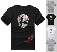 Free shipping Beautiful 2013 the trend of the van flower skull print 100% cotton o-neck Men T-shirt short-sleeve tee  low price