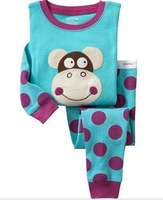 In stock Free shipping 6sets/lot baby pyjamas The monkey dot printed  girls and boys sleepwear kids set 2013