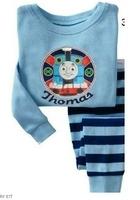 Thomas Train, Baby/Children 100% Cotton Knit Rib long sleeve T shirt + pant pajamas/sleepwear/clothing sets for 2-7 year.