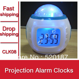 1pc New 2015 Music Starry Star Sky Projection Alarm Clock Calendar Thermometer With Retail Box -- CLK08  Wholesale & Retail