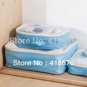 3 Pcs in Set Packing Cubes Clothes Underwear Organizer Storage Bag in Bag Travel Zipper Mesh Pouch Closet Organiser