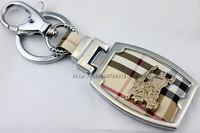 Protectorate fashion key chain male women's classic plaid leather buckle on keychain key ring leather buckle on