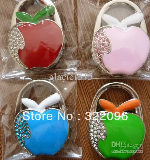 Free shipping High quality 2013 fashion apple shape folding bag hooks/bag hanger/purse hangers 4pcs/lot mix colors can be choose(China (Mainland))