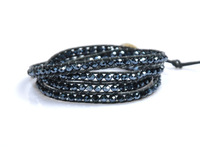 Wholesale Wrap Bracelets,Free Shipping 2013 Hot Fashion Jewelry Bracelet Leather Wrap Bracelet 4mm Crystal Beads CL021