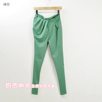 Cream candy color cotton slim asymmetrical pleated skinny pants casual pants trousers harem pants