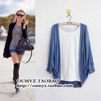 Fashion loose batwing sleeve sweater cape shirt cardigan sun protection clothing
