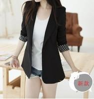 2013 spring women's vintage candy color polka dot slim waist slim small suit jacket suit