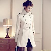 Winter outerwear female medium-long slim woolen overcoat winter wool double breasted wool coat