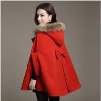 2012 winter Women wool cloak wool coat overcoat fur collar cloak woolen outerwear cape