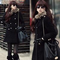 2012 winter women's fur collar double breasted with a hood fleece medium-long wool coat outerwear