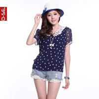 2013 summer women's sweet peter pan collar short-sleeve chiffon polka dot lace chiffon shirt top