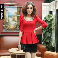 2013 spring long-sleeve slim red one-piece dress female skirt basic top spring women's 301
