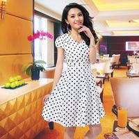 2013 summer one-piece dress V-neck polka dot women's OL outfit slim short-sleeve chiffon one-piece dress