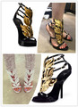Design sheepskin genuine leather flame wing high heel sandals evening party club pub shoes
