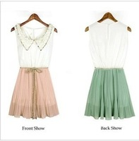 2013 spring and summer  womens  Girls O-NECK collar  Lace Sleeveless  Pleated dress T-Shirts  free shipping