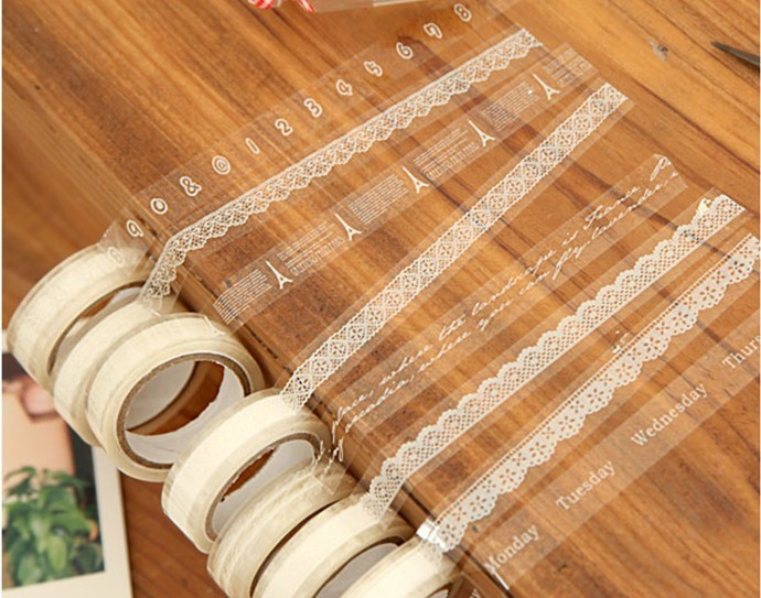 Freeshipping! New sweet lace Adhesive Tape 10M / white DIY stick label / Stationery / 32 design mix / Wholesale(China (Mainland))