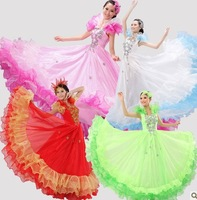 Modern skirt spanish bull dance modern dance costume one-piece dress princess dress multicolor