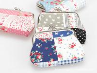 wholesale  Patchwork Fabric Floral zero wallet womens coin purse bag  24pcs/lot