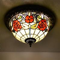 free shipping Tiffany ceiling light fashion romantic lighting rustic living room lamps study light loulan 0031b03