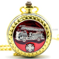 Fire truck gold plated fashion vintage quartz pocket watch male women's antique gift watch