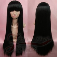 Cosplay black 80cm high temperature wire magic love costume yan wig