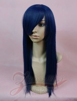 Cosplay wig 60cm straight hair navy blue high temperature wire cos wig