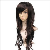 Cosplay wig aph deep black brown long curly hair volume air