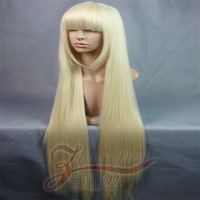 Cosplay wig small wool 100cm maiqi pale gold high temperature bangs silk cos wig