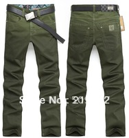Wholesale  fashion thin army green personality leisure cowboy pants 91066 men Jeans