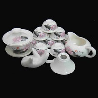 12Pcs Chinese Tea Cup w/Tea Pot Set,Kung Fu ceramic tea set /Lotus flowers