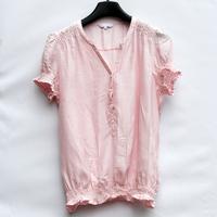 Loose short-sleeve shirt female formal V-neck women's short-sleeve shirt pleated