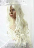 #1251  pretty Stylish Platinum Blonde Cosplay Party Curly Wig +wigs hairnet