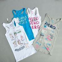 Preppy style aero print basic tank 100% cotton plus size