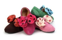 Tengo 2013 new spring cowhide leather polka dot bow princess shoes for girls