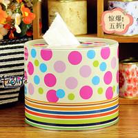free shipping(mix order above $10) Polka dot circle tissue box storage tin tissue paper towel tube pumping roll paper tube