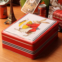 free shipping(mix order above $10) Rabbit square tin iron leather box miscellaneously desktop storage box storage box